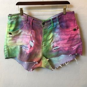 APOLLO rainbow tiedye distressed jean shorts 15/16